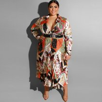 Plus Size 5XL Sexy Deep V Belted Printed Long Dress OSS-19422
