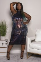 Big Size 5XL Sexy Sequined Sleeveless Midi Dress YIF-1096