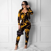 Plus Size Printed Jumpsuits Short Jacket 2 Piece Set YNB-7044