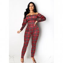 Plaid Print Off Shoulder Two Piece Pant Suits SHE-7145