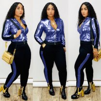 Fashion Sequins Plus Size Two Pieces Sets QY-5148