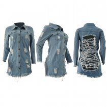 Casual Ripped Holes Long Sleeve Denim Mini Dress AL-149