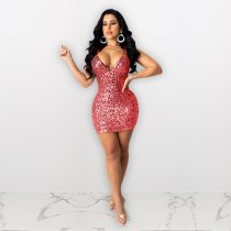 Sexy Sequins Spaghetti Strap Backless Club Dress ME-390