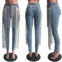 Trendy Denim Tassel Long Skinny Jeans Pants SH-3710