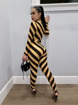 Casual Stripe Long Sleeve Bodycon Jumpsuits TEN-3394