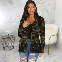 Camouflage Print Hooded Drawstring Zipper Coats SMR-9368
