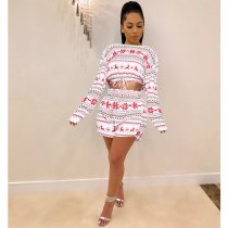 Christmas Printed Long Sleeves Two Piece Shorts Set SHE-7154
