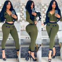Sexy Long Sleeves Zipper Bodycon 2 Piece Pants Sets SMD-7029