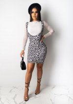 Letter Long Sleeves Top Strap Mini Dress Two Pieces YIY-5136