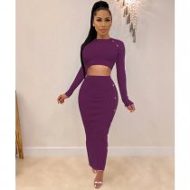 Solid Crop Tops And Maxi Skirt Two Piece Sets SHE-7150