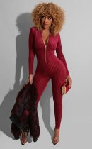 Sexy Long Sleeves Zipper Skinny Jumpsuits LUO-3048