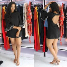 Black Flare Sleeve Backless Mini Dress MK-1016