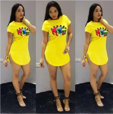 Eye Printed Yellow Mini Dress YH-5018