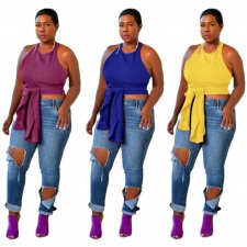 Plus Size Halter Sleeveless Irregular Tops LP-6128