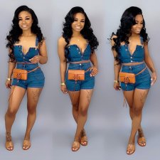 Plus Size Denim Button Up Shorts 2 Piece Set SH-3536