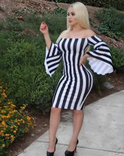 Black and White Stripes Off Shoulder Bodycon Dress MK-1017