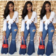 Denim Ripped Holes Jeans High Waist Flare Pants LX-8906