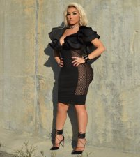 Fashion Women Ruffles Mesh Sexy Bodycon Black Dress WZ-8081