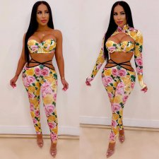 Sexy Floral Print 3pcs Long Pants Set DAI-8103