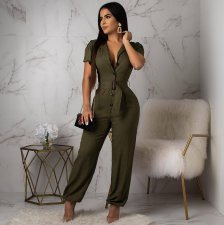 Army Green Short Sleeve High Waist Jumpsuit OMY-5097