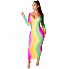 Long Sleeve Scoop Neck Color Block Maxi Dress LUO-6152