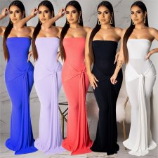 Solid Strapless Slim Maxi Dress AL-084