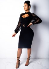 Mesh Patchwork Hollow Out Sexy Club Dress OSM-3249