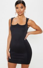 Black Square Collar Sleeveless Package Hip Tank Dress BER-1844