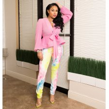 Plus Size Colorful Print Long Pencil Pants LSD-8289