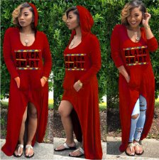 Red Letter Printed Hooded Maxi Dress DAI-8065