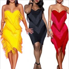 Sexy Strapless Tassel Bodycon Club Dress CYA-8088