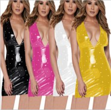 PU Leather Pearl Sleeveless Mini Club Dress YMT-6062