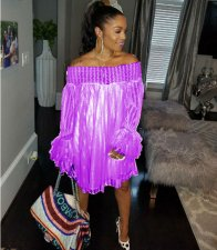LS-0204 Sexy Slash Neck Off Shoulder Plus Size Purple Lace Dress