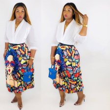 Plus Size Printed Pleated Midi Skirt HGL-1140