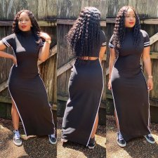 Black Stripe Splice Short Sleeve Split Maxi Dress LP-6151