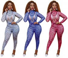 Fashionable Printed Slim Jumpsuits Plus Size SC-476