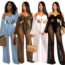 Fishnet Off Shoulder Sexy 2 Piece Set YF-9341