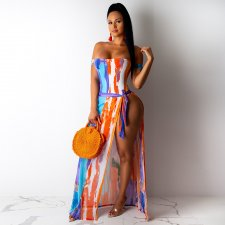 Sexy Printed Bandeau Swimsuits Beach Bodysuit With Long Skirt MDO-9062
