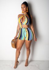 Colorful Stripes Sexy Strappy Deep V Halter Rompers OMF-5026