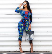 Letter Print Off Shoulder Skinny Jumpsuit QY-5059