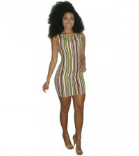 Colorful Stripe Sleeveless Mini Dress YIS-705