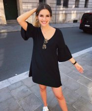 Black Hlaf Sleeve Loose Mini Dress JUI-9031