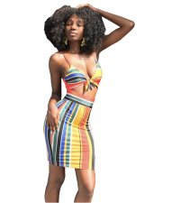 Colorful Striped 2 Piece Skirt Sets HM-6007