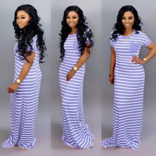 Casual Stripe Short Sleeve Maxi Dress SFY-012