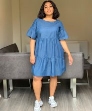 Plus Size Cute Loose Half Sleeve Knee Length Dresses MTY-6192