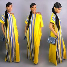 Striped Off Shoulder Loose Maxi Dresses WZ-8162