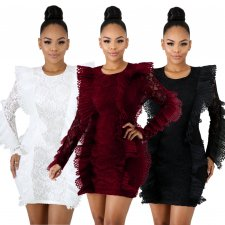 Long Sleeve Ruffles Bodycon Lace Dress LX-3081