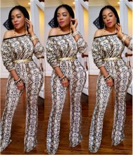 Snake Skin Print Off Shoulder Jumpsuit YNT-7058