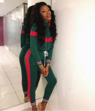 Casual Patchwork Tracksuit 2 Piece Set OJS-9035