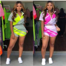 Casual Tracksuit Patchwork Short Sleeve 2 Piece Shorts Set MDO-9058